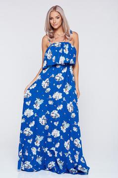 Rochie PrettyGirl albastra lunga cu croi larg cu bretele
