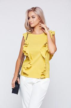 Top PrettyGirl galben eleganta cu croi larg cu volanase