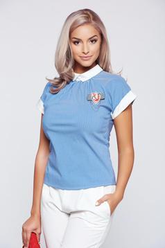 Camasa dama Fofy albastra-deschis din bumbac cu guler