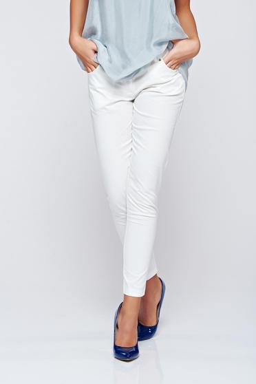 Pantaloni PrettyGirl albi office conici cu talie medie