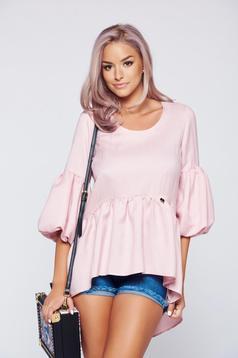 Bluza dama PrettyGirl rosa casual cu croi larg cu maneci clopot