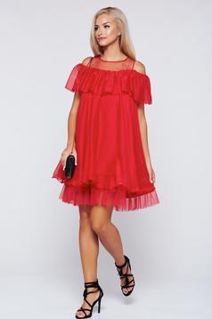 Rochie Artista rosie eleganta cu croi larg din voal