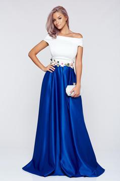 Rochie Artista albastra din material satinat cu insertii de broderie