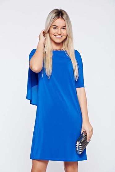 Rochie StarShinerS albastra eleganta din voal cu spatele decupat