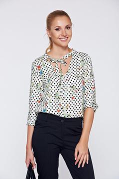 Bluza dama Top Secret alba casual din material vaporos cu buline