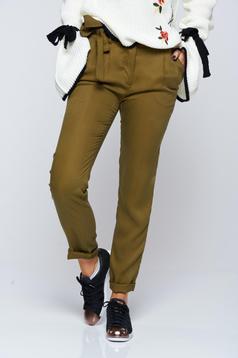 Pantaloni Top Secret khaki casual conici cu buzunare