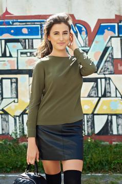 Bluza dama Top Secret khaki casual cu croi larg cu accesorii metalice