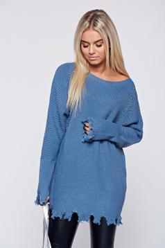 Pulover albastru casual tricotat cu tinte metalice