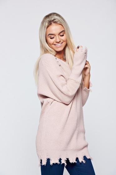 Pulover rosa casual tricotat cu tinte metalice