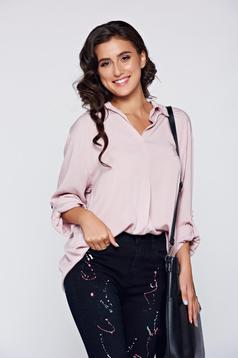 Bluza dama rosa eleganta din material vaporos cu croi larg