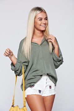 Bluza dama verde-inchis eleganta din material vaporos cu croi larg