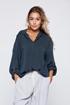 Bluza dama gri eleganta din material vaporos cu croi larg
