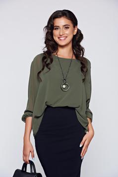 Bluza dama verde-inchis eleganta cu croi larg cu aplicatii de dantela