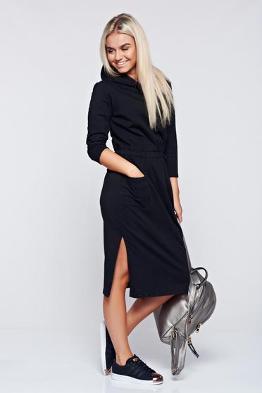 Rochie neagra casual din bumbac cu maneca lunga