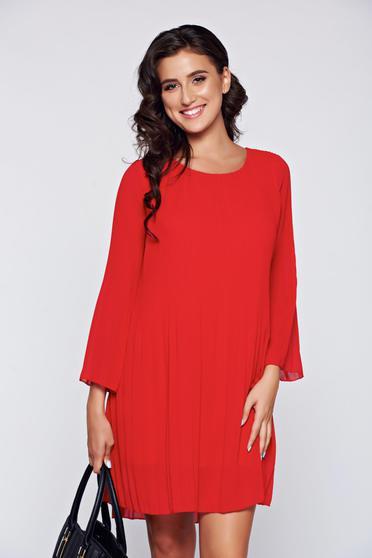 Rochie rosie eleganta din material vaporos cu croi larg