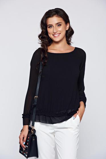 Bluza dama neagra eleganta din material vaporos captusita pe interior