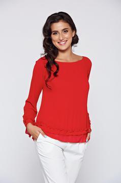 Bluza dama rosie eleganta din material vaporos captusita pe interior