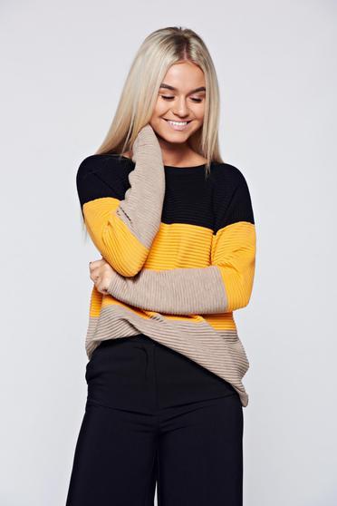 Pulover negru casual tricotat cu croi larg