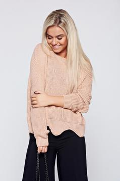 Pulover rosa casual tricotat cu tiv decupat