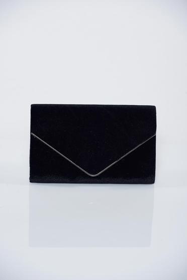 Geanta dama plic neagra accesorizata cu lantisor