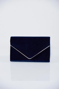 Geanta dama plic albastru-inchis accesorizata cu lantisor