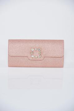 Geanta dama rosa de ocazie accesorizata cu pietre stras