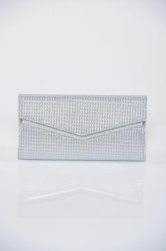 Geanta dama de ocazie argintie cu aplicatii cu sclipici