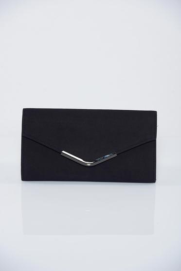 Geanta dama plic neagra cu accesoriu metalic