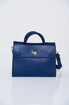 Geanta dama albastru-inchis office cu accesoriu metalic