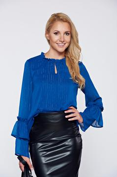 Bluza dama Top Secret albastru-inchis office cu croi larg din material vaporos