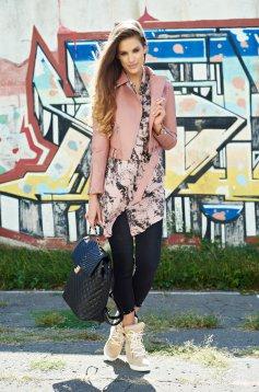 Geaca rosa casual din piele ecologica cu buzunare cu fermoar