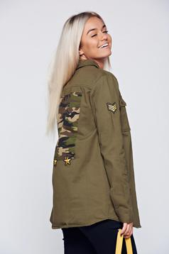 Camasa dama khaki casual din bumbac cu maneca lunga