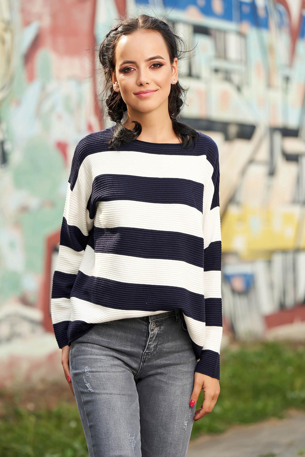 Pulover SunShine albastru-inchis casual tricotat cu croi larg