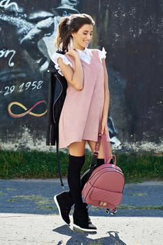 Rochie rosa casual din velur cu croi larg