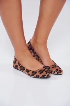 Pantofi Top Secret maro-deschis casual cu talpa usoara cu imprimeu tip animal print