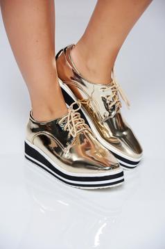 Pantofi auriu casual cu siret cu aspect metalic