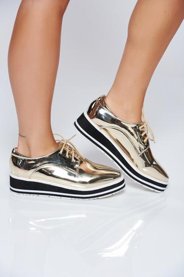 Pantofi aurii casual cu siret cu aspect metalic
