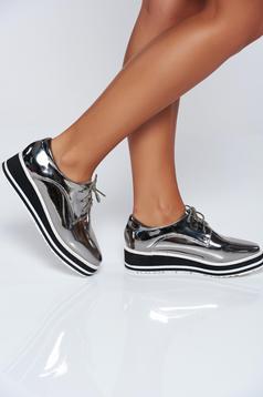 Pantofi argintiu casual cu siret cu aspect metalic