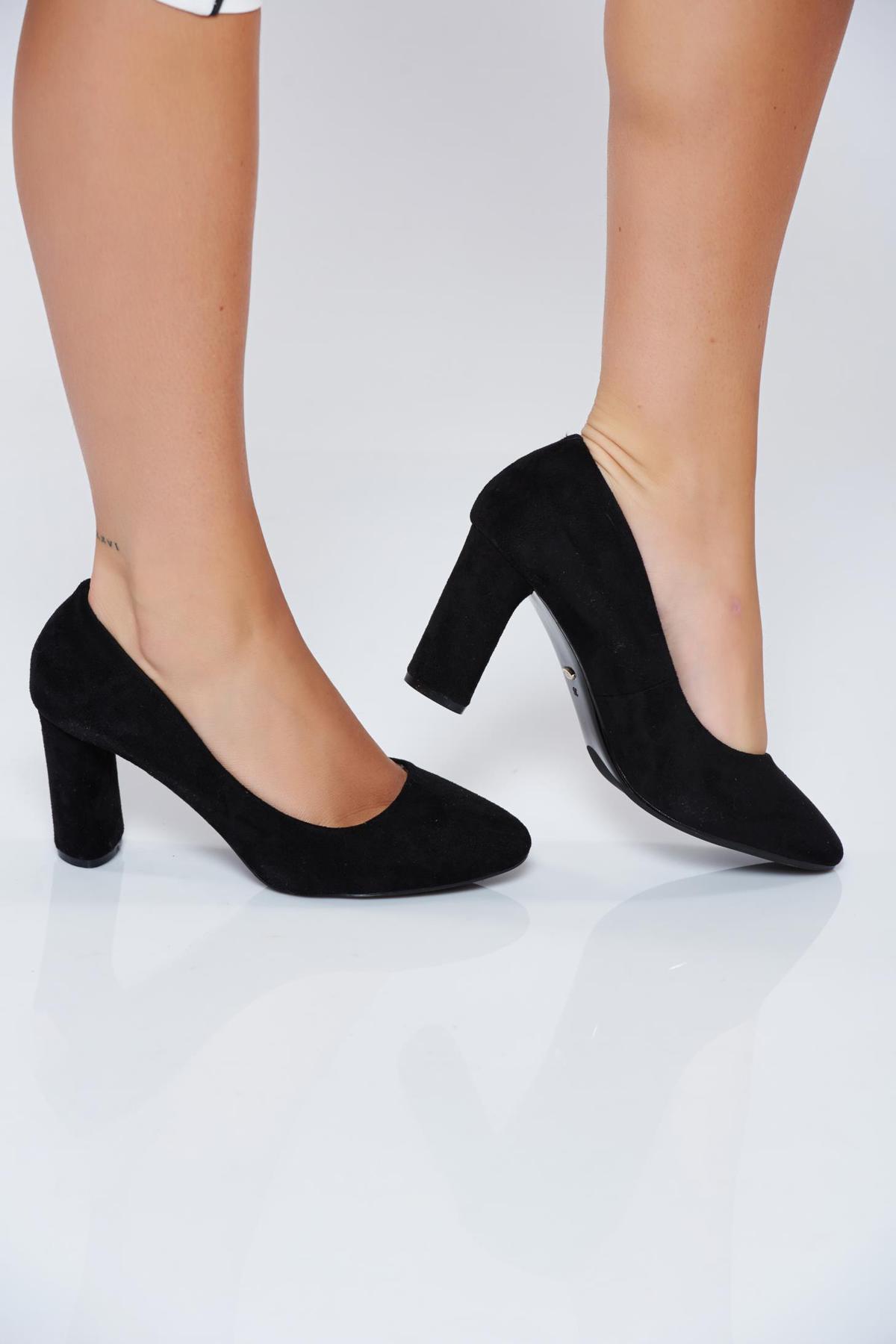 Pantofi negri office din piele ecologica cu toc inalt imagine