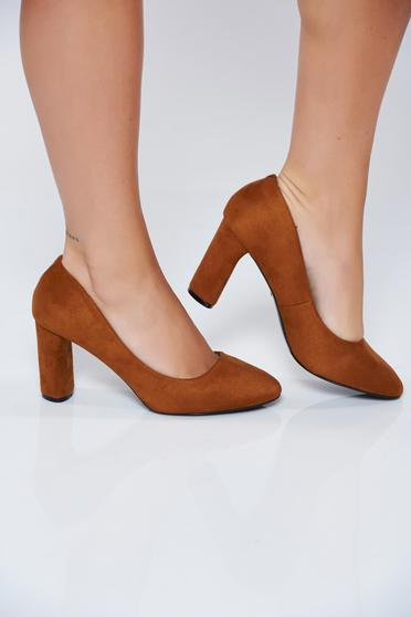Pantofi maro office din piele ecologica cu toc inalt