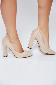 Pantofi crem office din piele ecologica cu toc inalt