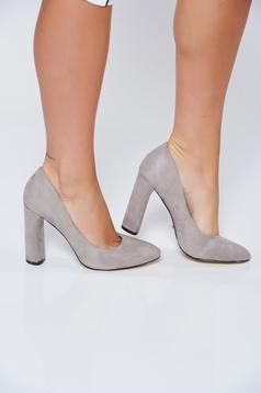 Pantofi gri office din piele ecologica cu toc inalt
