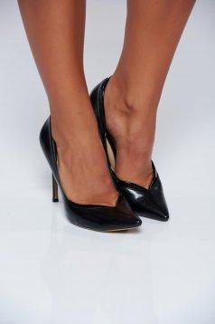 Pantofi negru office cu toc inalt cu varful usor ascutit