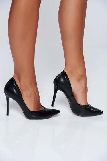 Pantofi stiletto negri office cu toc inalt din piele ecologica
