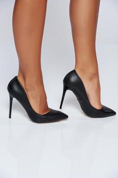 Pantofi stiletto negri office din piele ecologica cu toc inalt