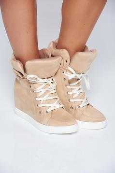 Pantofi sport crem casual din piele ecologica cu siret