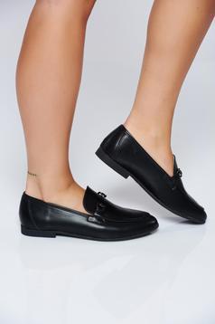 Pantofi negru casual cu talpa joasa din piele ecologica