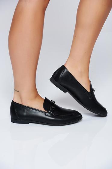 Pantofi negri casual cu talpa joasa din piele ecologica