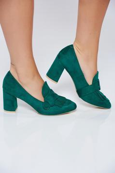Pantofi verde office cu toc patrat cu franjuri