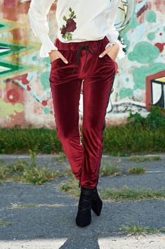 Pantaloni visinii casual catifea cu buzunare